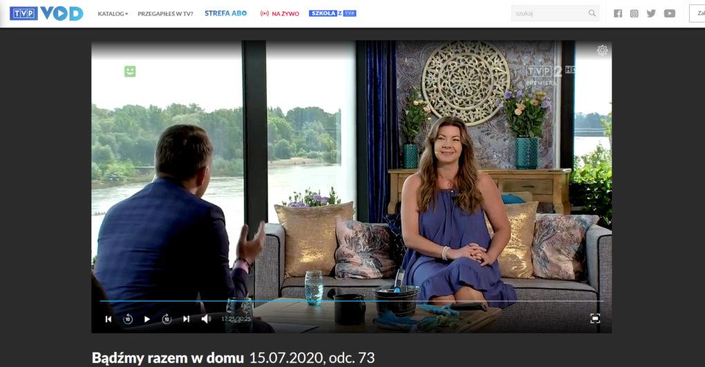 Joanna Tokarska królowa fizjoterapii bądzmy razem w domu wywiad dla tvp 1