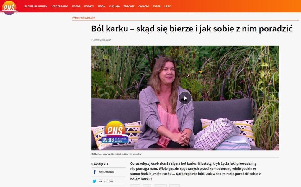 Joanna Tokarska królowa fizjoterapii ból karku jak sobie z nim poradzić? wywiad pytanie na śniadanie
