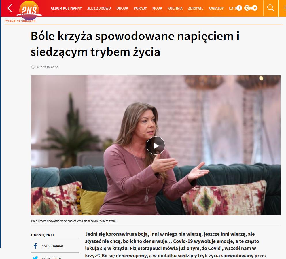 Joanna Tokarska królowa fizjoterapii bóle krzyża spowodowane napięciem i siedzącym trybem życia