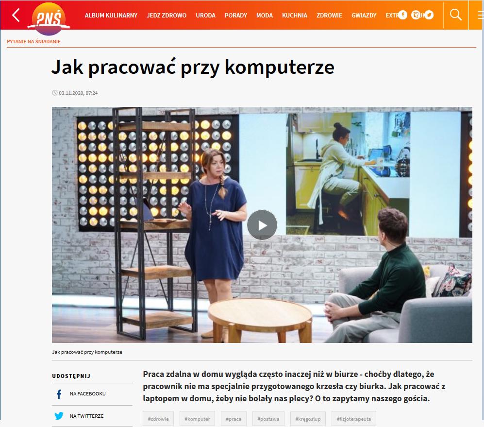 Joanna Tokarska królowa fizjoterapii jak pracować przy komputrze? wywiad dla pytania na śniadanie